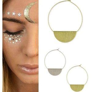Boho Gold or Silver Half Moon Earrings